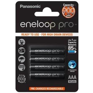 4 stk. genopladelige batterier Panasonic eneloop pro AAA / R0